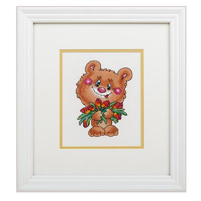 купить набор для вышивания крестом и бисером Кларт 8-182 Медвежонок с тюльпанами