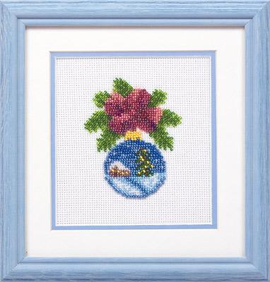 купить набор для вышивания крестом и бисером Кларт 8-047 Новогодний шарик с домиком