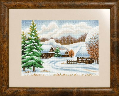 купить набор для вышивания крестом и бисером Кларт 8-065 Зимняя деревня